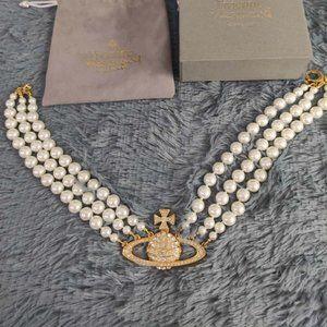 Vivienne Westwood Gold Triple Pearl Necklace